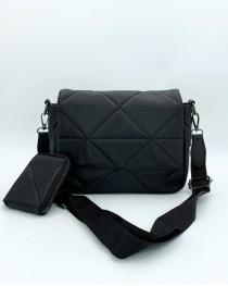 Женская сумка с кошельком «Роуз» черная