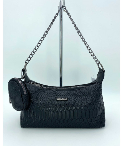 Женская сумка «Лойс» черная рептилия