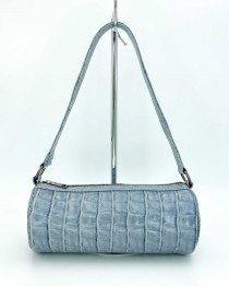 Женская сумка «Бэтс» серо-голубой крокодил