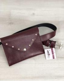 Женская сумка на пояс бордо цвета