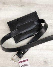 Женская сумка на пояс черного цвета