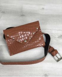 Женская сумка на пояс рыжий крокодил