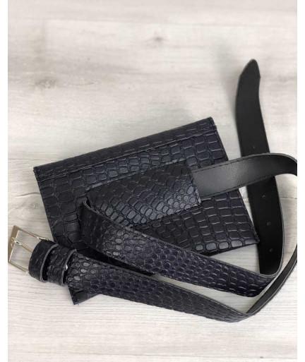 Женская сумка на пояс синий крокодил