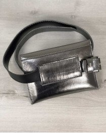 Женская сумка на пояс металлик