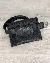 Женская сумка на пояс черная змея