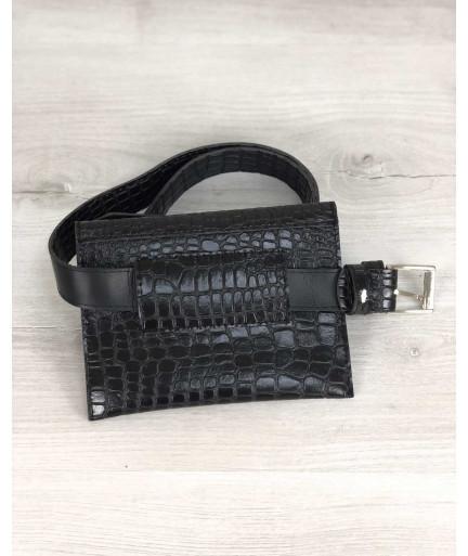 Женская сумка на пояс черный крокодил