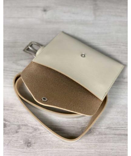 Женская сумка на пояс эко-кожа цвета слоновой кости
