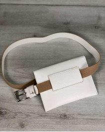 Женская сумка на пояс эко-кожа белого цвета