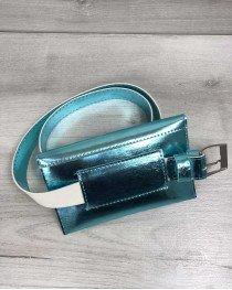 Женская сумка на пояс перламутрового мятного цвета