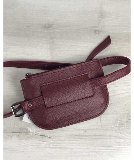 Женская сумка на пояс Кэти бордового цвета