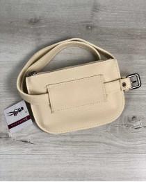 Женская сумка на пояс Кэти бежевого цвета
