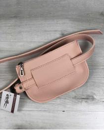 Женская сумка на пояс Кэти пудрового цвета