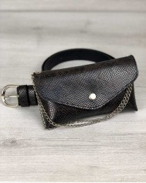 Женская сумка на пояс Айлин коричнево-черная змея