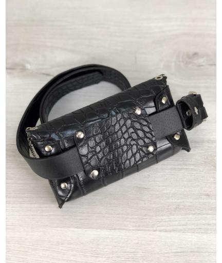 Женская сумка на пояс Айлин черный крокодил