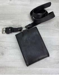 Женская сумка на пояс «Ида» черная рептилия