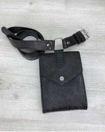 Женская сумка на пояс оптом «Ида» черная рептилия