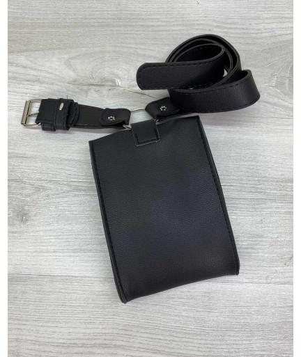 Женская сумка на пояс «Ида» черная