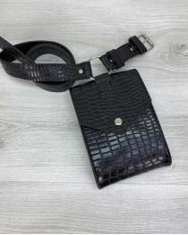 Женская сумка на пояс «Ида» черный крокодил
