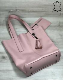 Кожаная женская сумка шоппер «Jolie» пудрового цвета