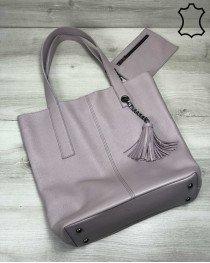 Кожаная сумка шоппер  женская «Jolie» фиалкового цвета опт
