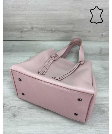 Кожаная женская сумка шоппер «Akua» пудра