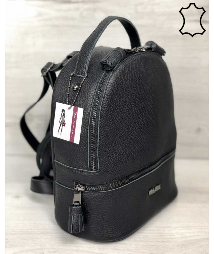 Кожаный сумка рюкзак женский «Rashel» черный