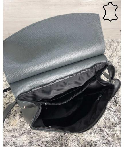 Кожаный молодежный сумка-рюкзак серого цвета