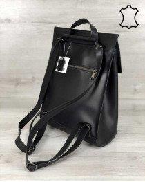 Кожаный рюкзак сумка молодежный черного цвета