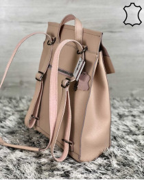 Кожаный молодежный сумка-рюкзак пудрового цвета