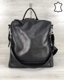 Кожаная  сумка рюкзак «Taus» черного цвета