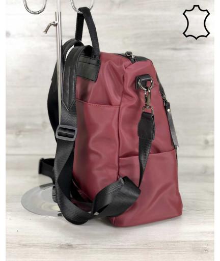 Кожаная  сумка рюкзак Taus черного с бордовым цвета