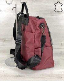 Кожаная  сумка рюкзак «Taus» черный  бордо