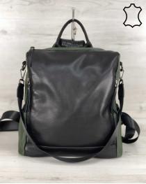 Кожаная  сумка рюкзак Taus черного с оливковым цвета