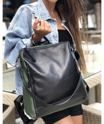 Кожаная  сумка рюкзак «Taus» черный с оливковым