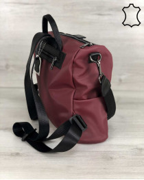 Кожаная  сумка рюкзак Angelo черного с бордовым цвета