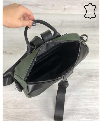 Кожаная  сумка рюкзак «Angelo» черный с оливковым