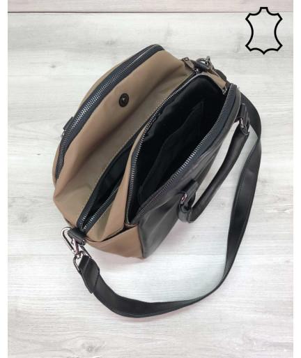 Кожаная женская сумка «Elis» черная с кофейным