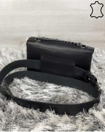 Кожаная женская сумка-клатч Leya с черного цвета с черным сердечком