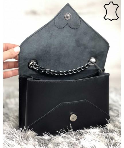 Кожаная женская сумка клатч Leya с черного цвета с черным сердечком