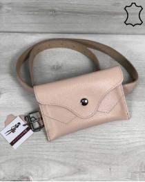 Кожаная женская сумка на пояс «Pauli» пудра