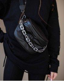 Кожаная сумка «Pegy» черная