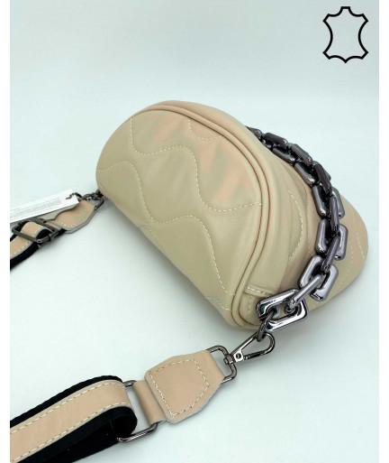 Кожаная сумка оптом «Pegy» бежевая