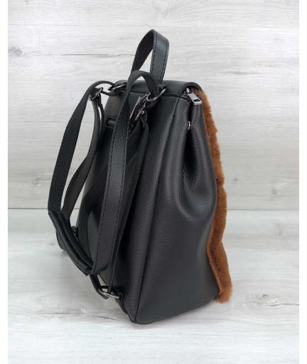 Женский рюкзак «Фаби» с рыжим мехом