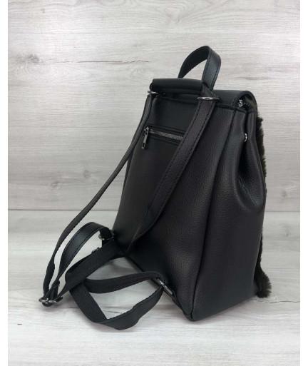 Женский рюкзак «Фаби»  с оливковым мехом