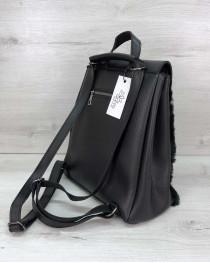 Рюкзак женский «Фаби» черный с мехом