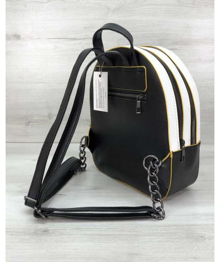Рюкзак молодежный «Marcy» черно белый с желтым