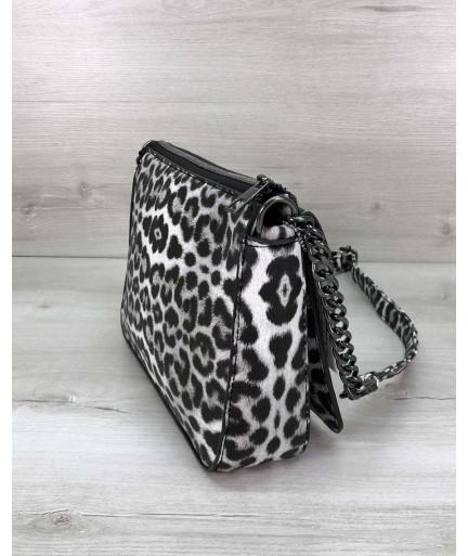 Стильная сумка  Rika черно-белый леопард