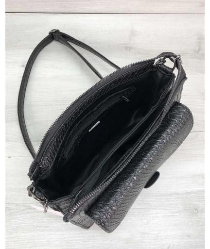 Стильная сумка  Rika черная рептилия