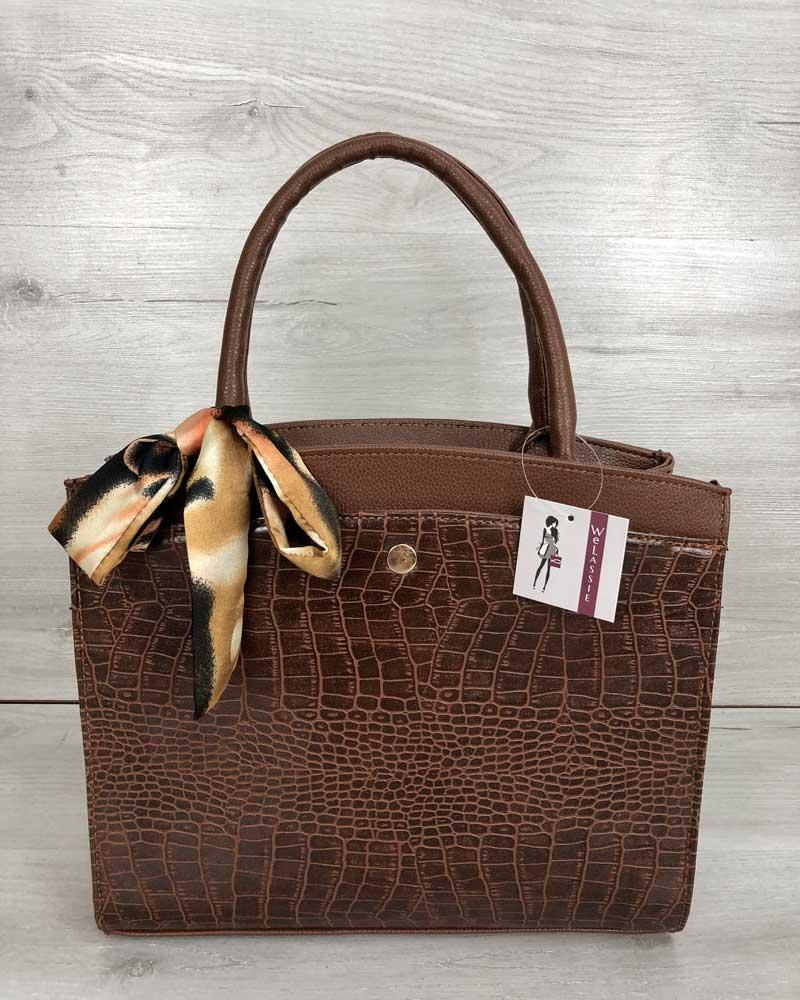 Классическая женская сумка Бьянка рыжего цвета со вставкой рыжий крокодил
