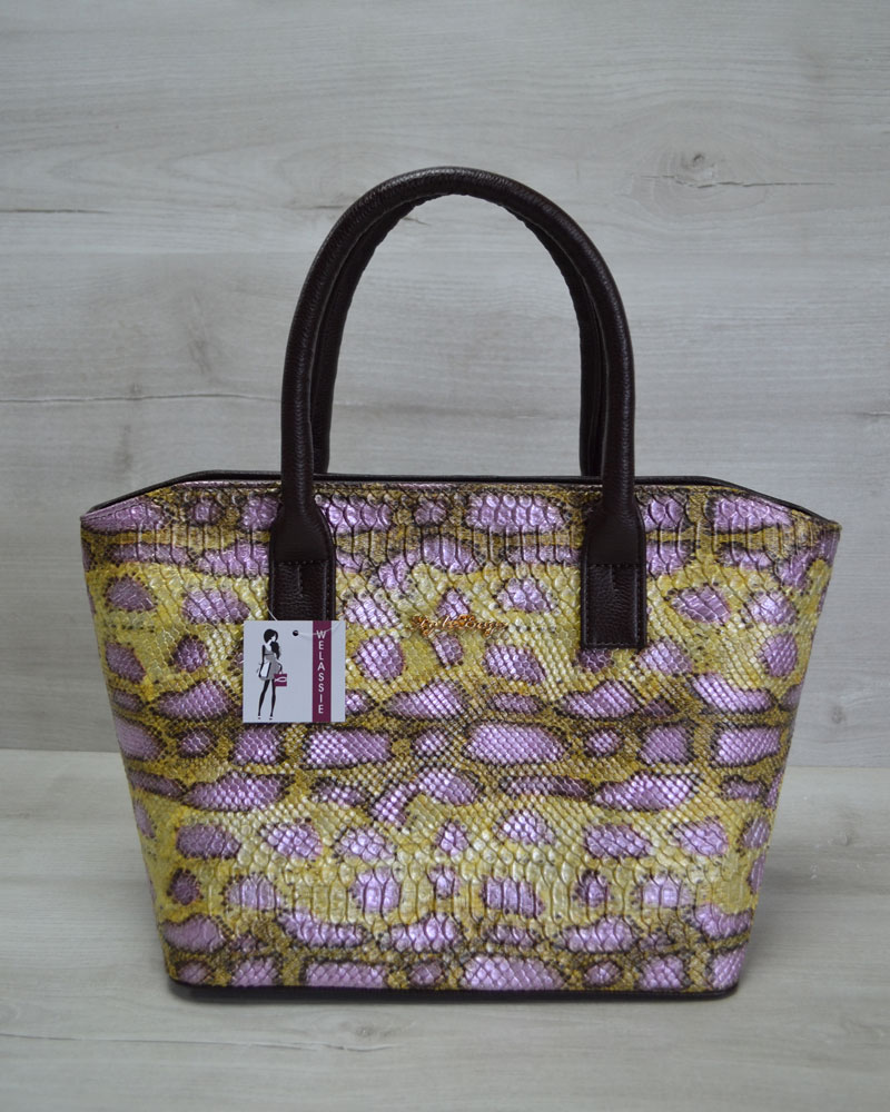 Классическая женская сумка «Две змейки» коричневая, желтая змея